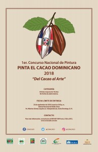 """Afiche 1er. Concurso Nacional de Pintura PINTA EL CACAO DOMINICANO 2018 """"Del Cacao al Arte"""""""