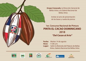 """Invitación rueda de prensa 1er. Concurso Nacional de Pintura PINTA EL CACAO DOMINICANO 2018 """"Del Cacao al Arte"""""""